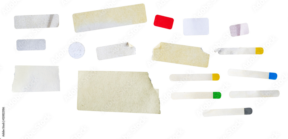 Fototapety, obrazy: set of grungy adhesive stickers, price tags, isolated on white, free copy space