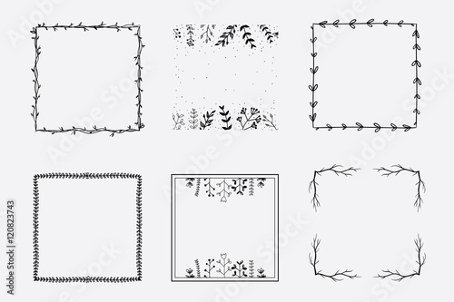 Fotografie, Obraz  Hand drawn vector square floral frames for brand identity and logo design isolat