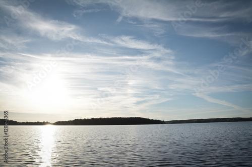 Foto auf Gartenposter Forest river sunset on Braslav lakes in Belarus