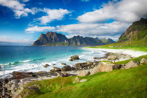 Poster Northern Europe Beautiful view to Eggum beach in Norway, Lofoten islands, Norway