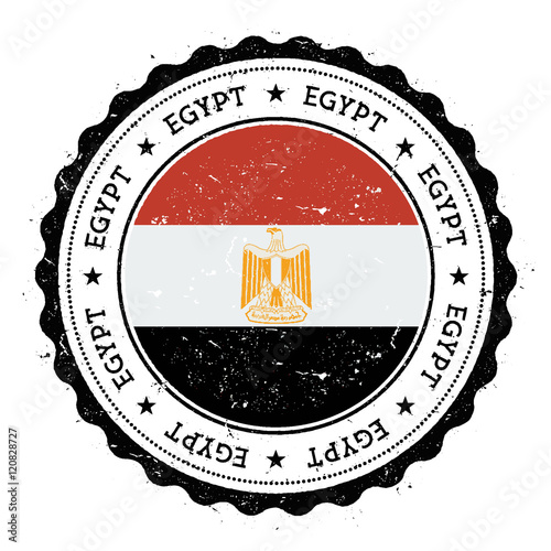 Grunge Rubber Stamp With Egypt Flag Vintage Travel Circular Text Stars And