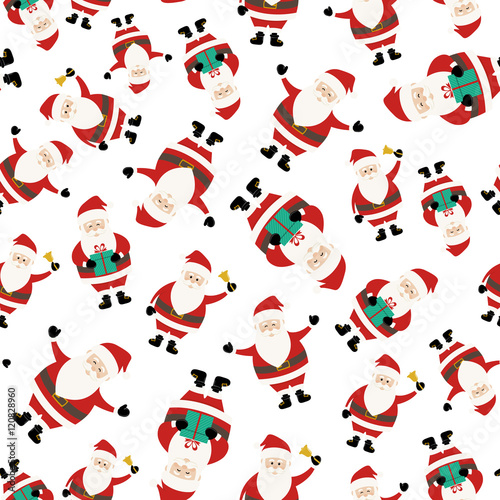 Cotton fabric Santa Claus Seemless Pattern