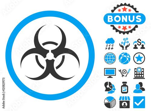 Biohazard Symbol Icon With Bonus Symbols Vector Illustration Style