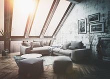 Sunny Rooftop Apartment Interior As 3D Render