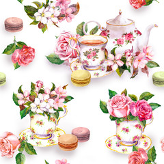 Panel Szklany Do herbaciarni Flowers, tea cup, cakes, macaroons, pot. Watercolor. Seamless background