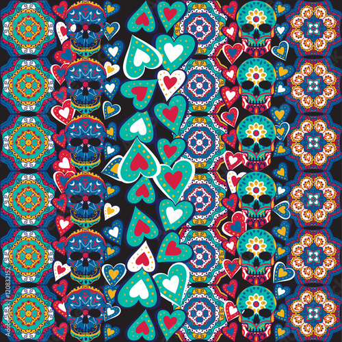Foto auf AluDibond Ziehen Seamless Gothic Pattern With Color Hand Drawn Skulls , Boho strips , tribal, texture, Doodle style