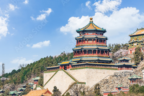 Poster Pekin The Summer Palace landscape in Beijing,Chinese imperial garden of the Qing Dynasty