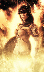 Female Goddess of war posin...
