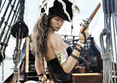 Fotografia, Obraz  Profile of a Sexy Pirate female captain standing on the deck of her ship with pistol in hand