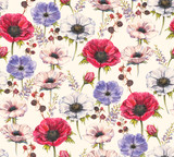 Fototapeta Sypialnia - Hand-drawn watercolor seamless floral pattern with beautiful anemones and berries. Repeated print with blossom for the wrapping paper, textile and wallpapers. Vintage stylish background