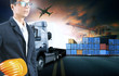 business man working in shipping port use for logistic and cargo