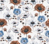 Hand-drawn watercolor seamless floral pattern with beautiful anemones and berries. Repeated print with blossom for the wrapping paper, textile and wallpapers. Vintage stylish background - 120845727