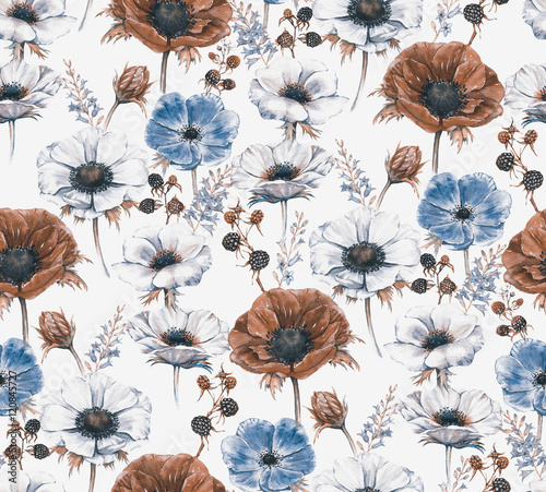 Hand-drawn watercolor seamless floral pattern with beautiful anemones and berries. Repeated print with blossom for the wrapping paper, textile and wallpapers. Vintage stylish background