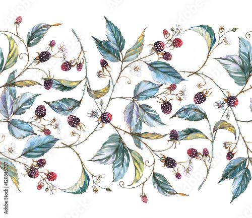 recznie-rysowane-akwarela-bezszwowe-ornament-z-naturalnymi-motywami-galezie-jezyny-liscie-i-jagody-powtarzajaca-sie-dekoracyjna-ilustracja-granica-z-jagodami-i-liscmi