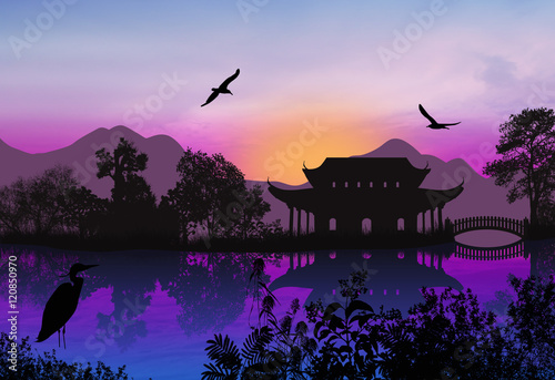 Printed kitchen splashbacks Purple Beautiful asian landscape