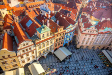 Aerial View Of Famous Square In Prague City