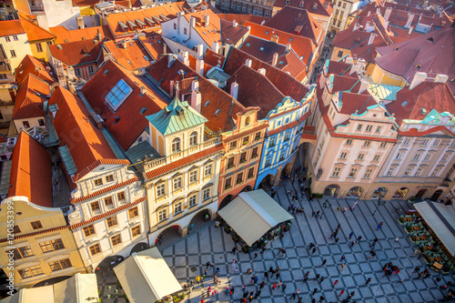 Foto op Plexiglas Praag Aerial view of famous square in Prague city