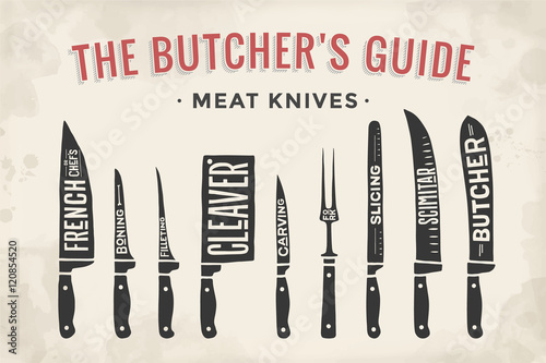 Obraz na płótnie Meat cutting knives set. Poster Butcher diagram and scheme