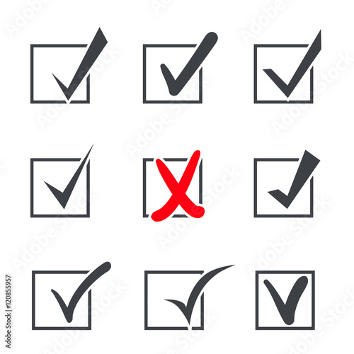 Set Of Nine Vector Check Marks Or Ticks In Boxes Of Confirmation