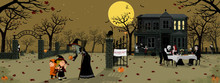 Dark Halloween Night Party Bac...