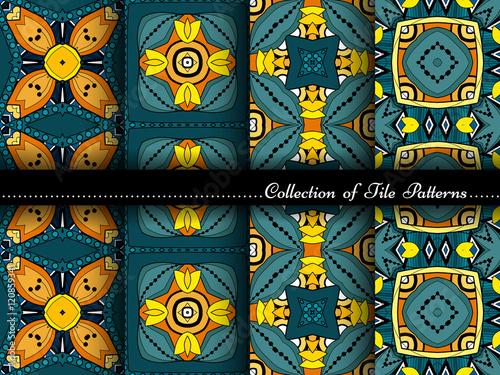 Foto op Plexiglas Retro Vector Collection of Seamless Vintage Patterns