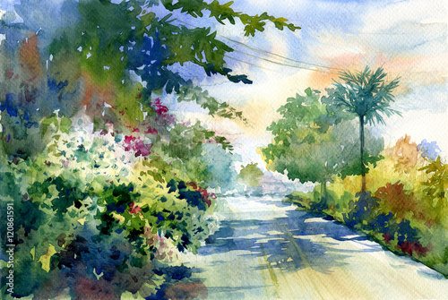 Poster Olive watercolor painting of autumn landscape with a beautiful road with colored trees