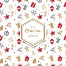 Merry Christmas Hexagon Pattern Ornament Background