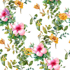 Fototapeta Egzotyczne Watercolor painting of leaf and flowers, seamless pattern on white background