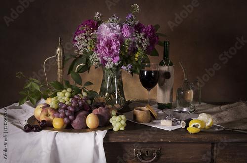 Fototapeta Still life with wine obraz