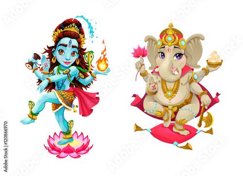 Poster Chambre d enfant Representation of hindu gods Shiva and Ganesha