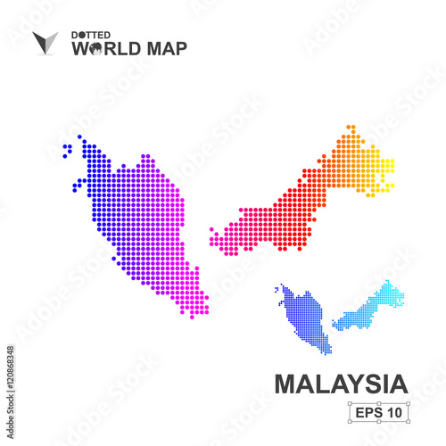 Map Of Malaysia Dotted Vector,Abstract computer graphic colorful ...