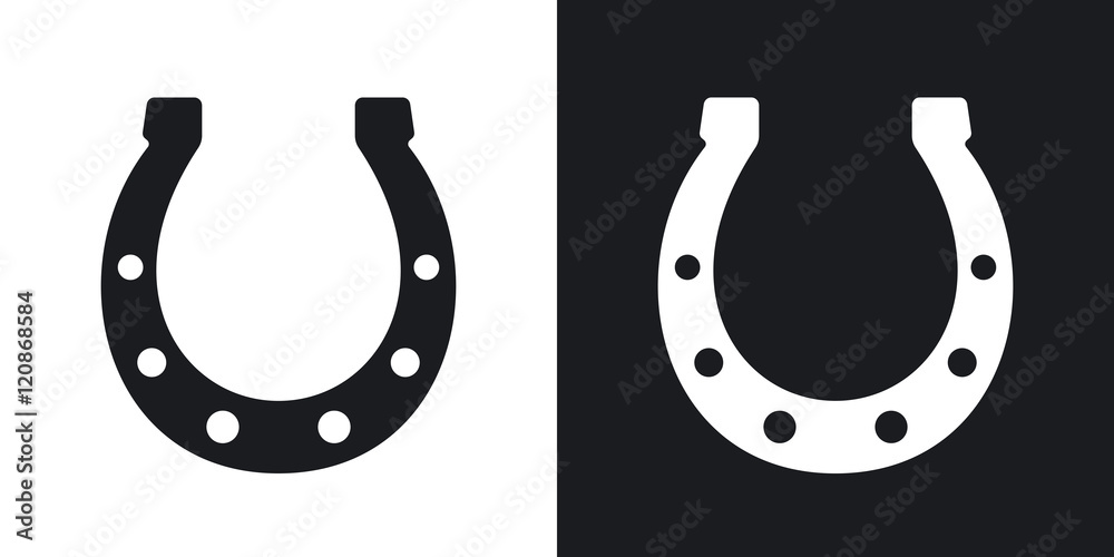 Fototapety, obrazy: Vector horseshoe icon. Two-tone version on black and white background