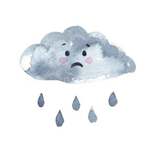 Little Sad Cartoon Cloud With Raindrops Painted In Watercolor On Clean White Background