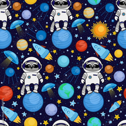 Seamless cartoon space pattern - raccoon astronaut, spaceship, planets, satellit Wallpaper Mural