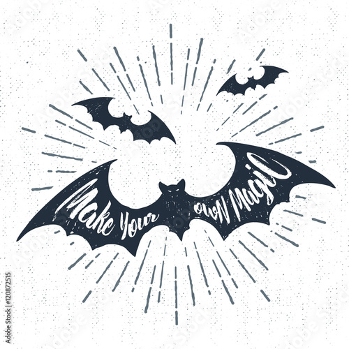 Deurstickers Halloween Hand drawn Halloween label with textured bats vector illustration and