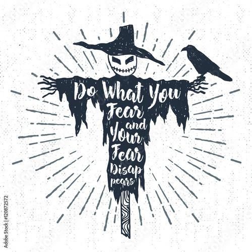 Ingelijste posters Halloween Hand drawn Halloween label with textured scarecrow vector illustration and
