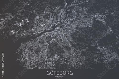Photo Cartina di Göteborg, vista satellitare, città, Svezia