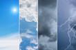 Leinwandbild Motiv Weather forecast concept background - variety weather conditions