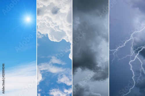 Foto Weather forecast concept background - variety weather conditions