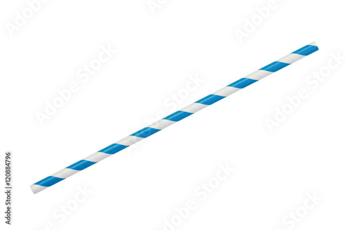 Photo blue striped eco paper straw isolated on white