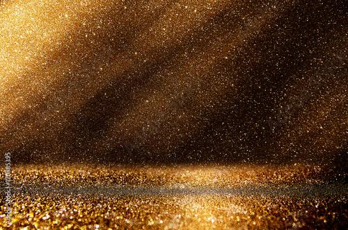 brokat rocznika światła tło. ciemny złoty i czarny. defocuse