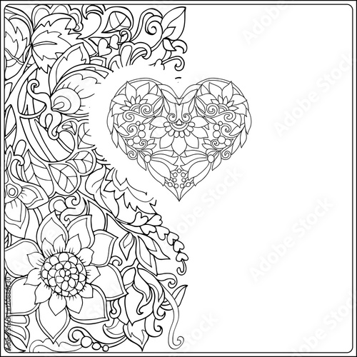 Hand drawn floral decorative love Heart on floral pattern ...