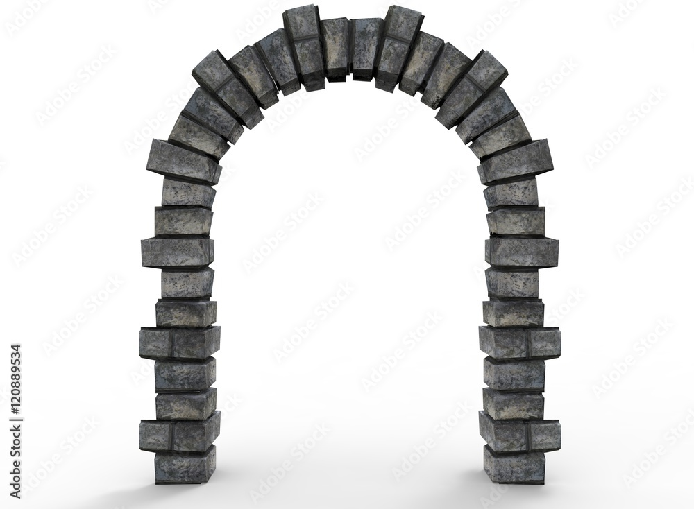 Fototapety, obrazy: 3d illustration of old arch way. white background isolated. icon for game web.