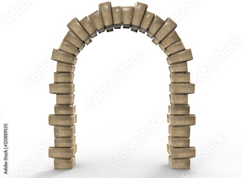 Canvas Print 3d illustration of old arch way