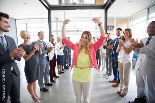 Fototapeta positive confident leader congratulations employer. obraz