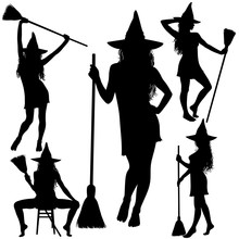 Halloween Witch With Broomstic...