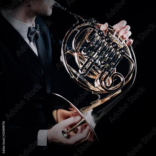 Spoed Fotobehang Muziek French horn musical instruments