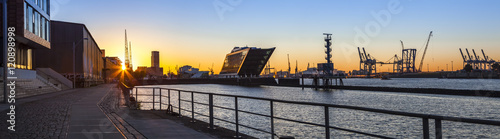 Canvas Prints Port Port of Hamburg, Panoramaview in the early Morning Sun, Office Buildings at the Riverside of the Elbe