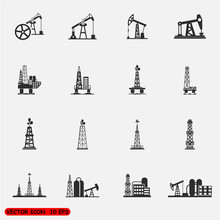 Oil Rig, Pump And Oil Drilling Platform Icons Sets