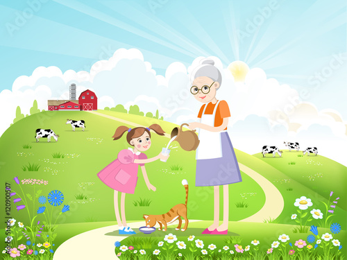 Papiers peints Chateau Dairy farm and a herd of cows on a beautiful summer landscape. Girl, grandmother and cat drinking milk. Vector illustration.